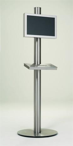 Infoterminal als Säule in Edelstahl mit Edelstahltastatur