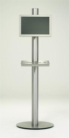 Infoterminal als Säule in Edelstahl mit Edelstahltastatur  Frontansicht