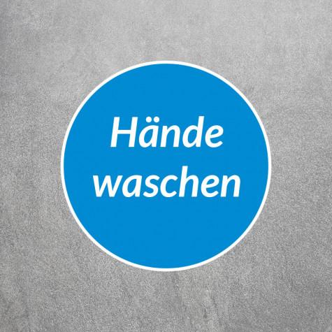 Bodenaufkleber als Corona Schutz mit Text Hände waschen