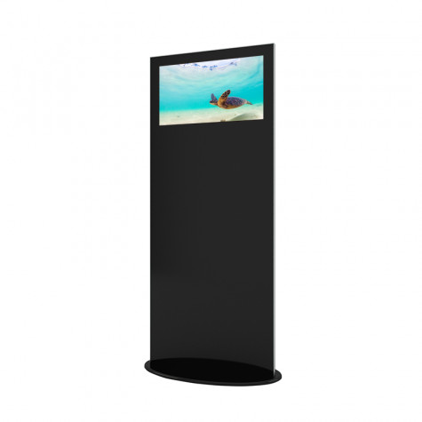 Lamina Stele mit 28 Zoll Bildschirmdiagonale und Touchscreen in schwarz seitliche Ansicht vorne
