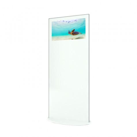 Lamina Stele mit 28 Zoll Bildschirmdiagonale und Touchscreen in weiß seitliche Ansicht vorne