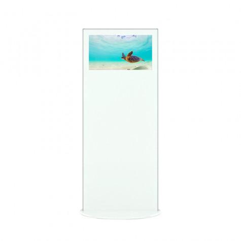 Lamina Stele mit 28 Zoll Bildschirmdiagonale und Touchscreen in weiß vorne