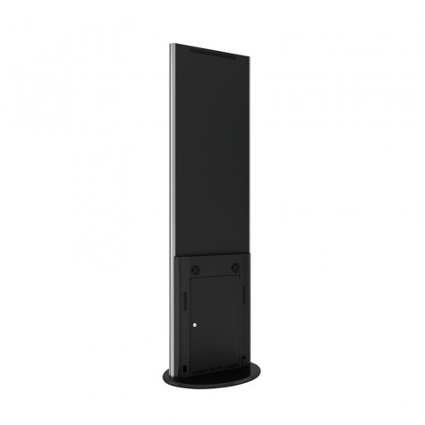 Lamina Stele mit 32 Zoll Bildschirmdiagonale und Touchscreen in schwarz seitliche Ansicht hinten