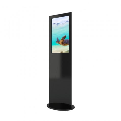 Lamina Stele mit 32 Zoll Bildschirmdiagonale und Touchscreen in schwarz seitliche Ansicht vorne