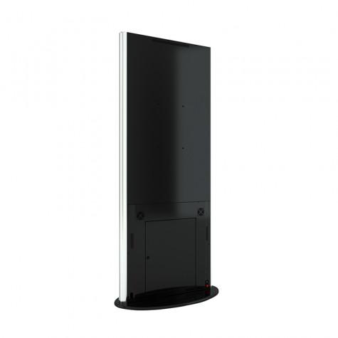 Lamina Stele mit 50 Zoll Bildschirmdiagonale und Touchscreen in schwarz seitliche Ansicht hinten