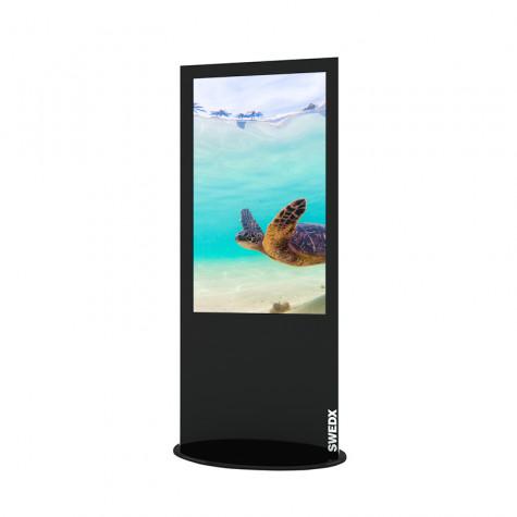 Lamina Stele mit 50 Zoll Bildschirmdiagonale und Touchscreen in schwarz seitliche Ansicht vorne