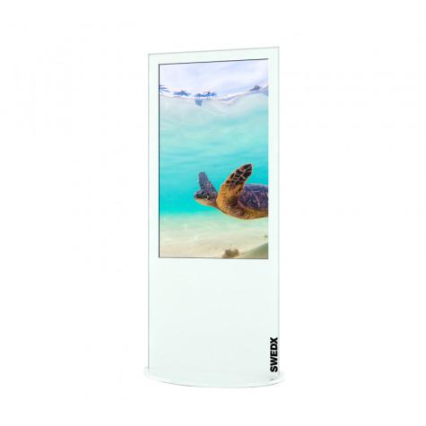 Lamina Stele mit 50 Zoll Bildschirmdiagonale und Touchscreen in weiß seitliche Ansicht vorne