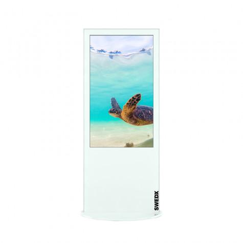 Lamina Stele mit 50 Zoll Bildschirmdiagonale und Touchscreen in weiß vorne