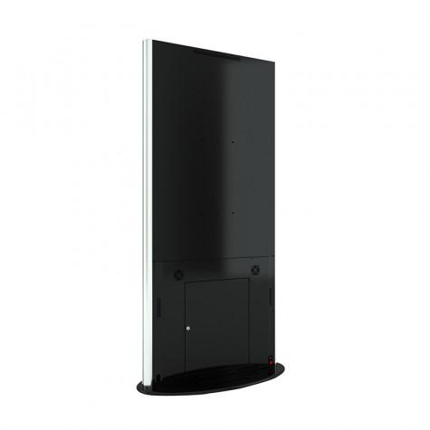 Lamina Stele mit 58 Zoll Bildschirmdiagonale und Touchscreen in schwarz seitliche Ansicht hinten