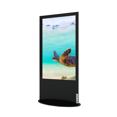 Lamina Stele mit 58 Zoll Bildschirmdiagonale und Touchscreen in schwarz seitliche Ansicht vorne