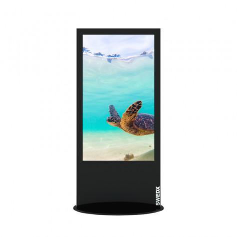 Lamina Stele mit 58 Zoll Bildschirmdiagonale und Touchscreen in schwarz vorne