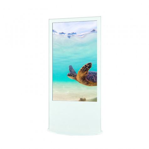 Lamina Stele mit 58 Zoll Bildschirmdiagonale und Touchscreen in weiß seitliche Ansicht vorne