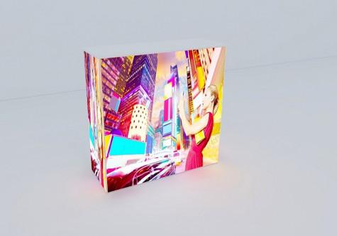 beleuchtete Pop-Up Theke Silicon Fabric mit Textildruck