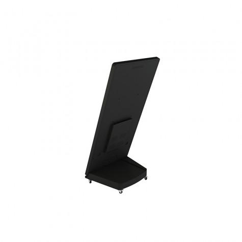 Sandwich Board Stele mit 32 Zoll Bildschirmdiagonale schwarz seitliche Ansicht hinten