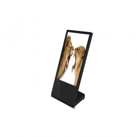 Sandwich Board Stele mit 32 Zoll Bildschirmdiagonale schwarz seitliche Ansicht vorne