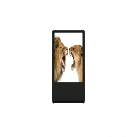 Sandwich Board Stele mit 32 Zoll Bildschirmdiagonale schwarz vorne