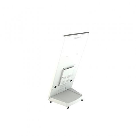 Sandwich Board Stele mit 32 Zoll Bildschirmdiagonale weiß seitliche Ansicht hinten