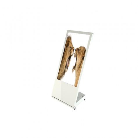 Sandwich Board Stele mit 32 Zoll Bildschirmdiagonale weiß seitliche Ansicht vorne