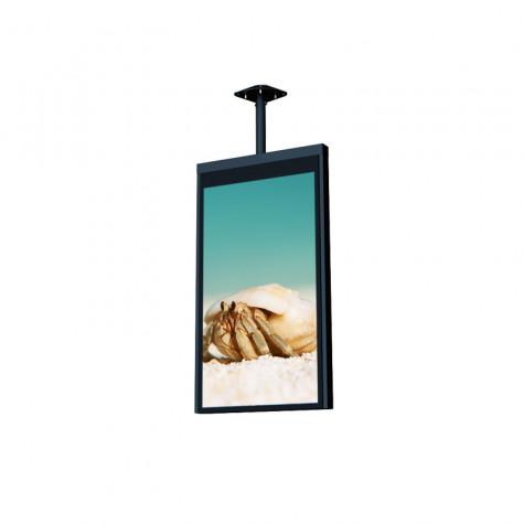 TANK Deckenhalterung für 55 Zoll Bildschirm und 1300 bis 1500 mm Länge seitliche Ansicht