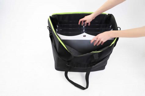 Transporttasche für faltbare Prospektständer offen